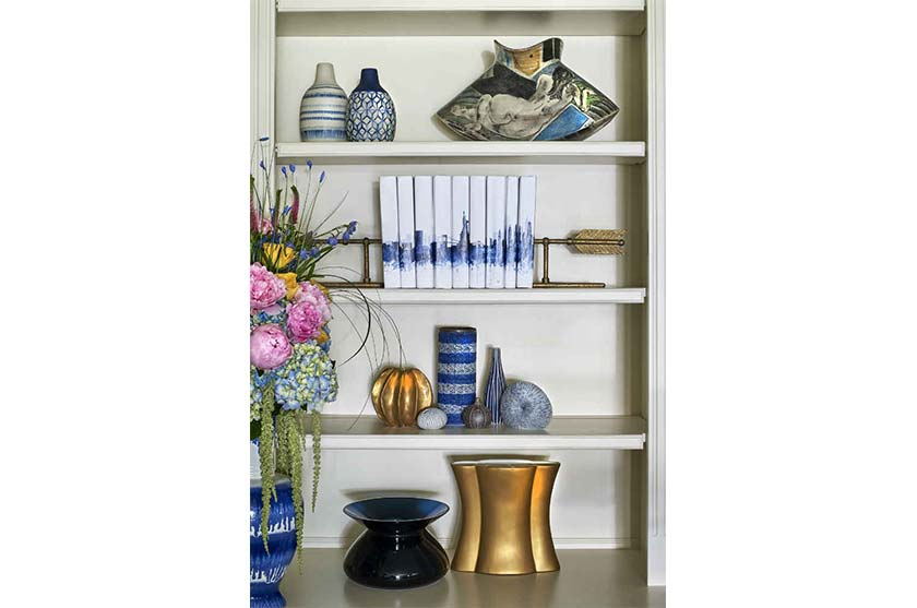 Blue Accents Built In Book Shelf Interior Design Montclair