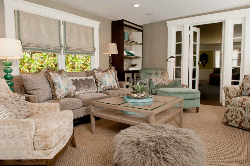 Family Room Cream And Sage Green Interior Design
