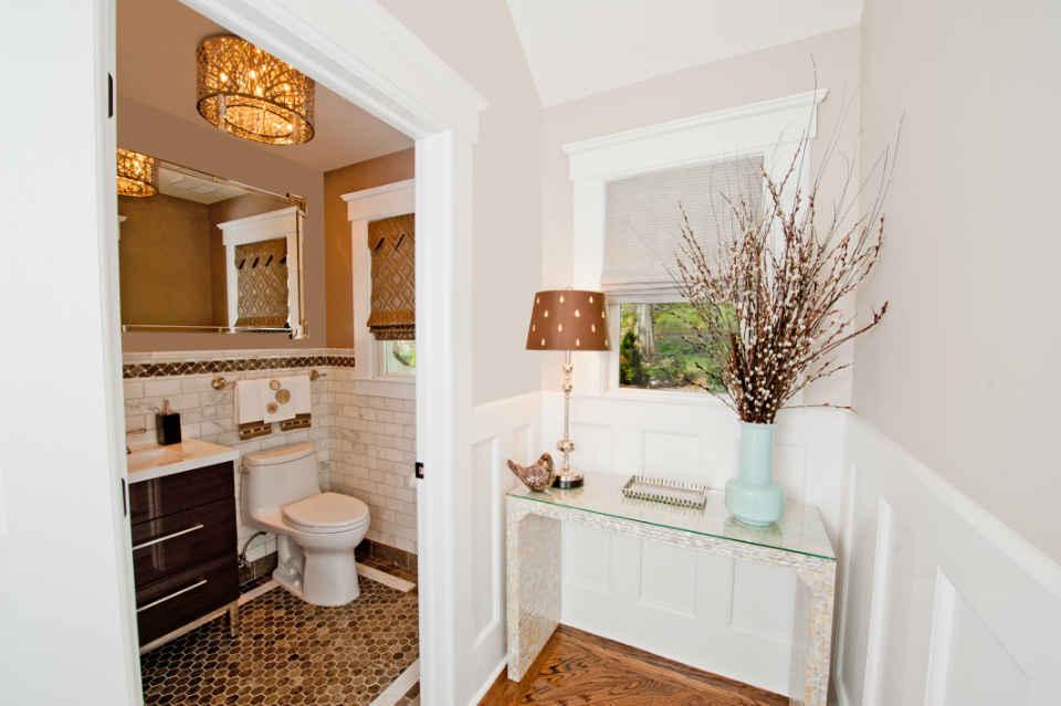Gold Tiled Bathroom Interior Design