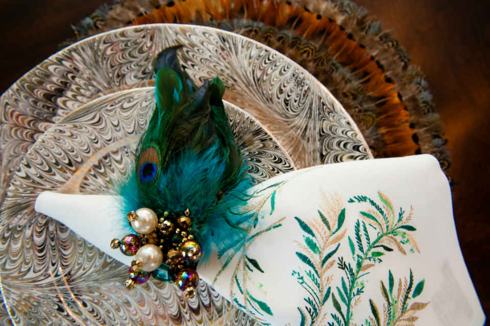 Peacock Dining Room Napkin Place Setting