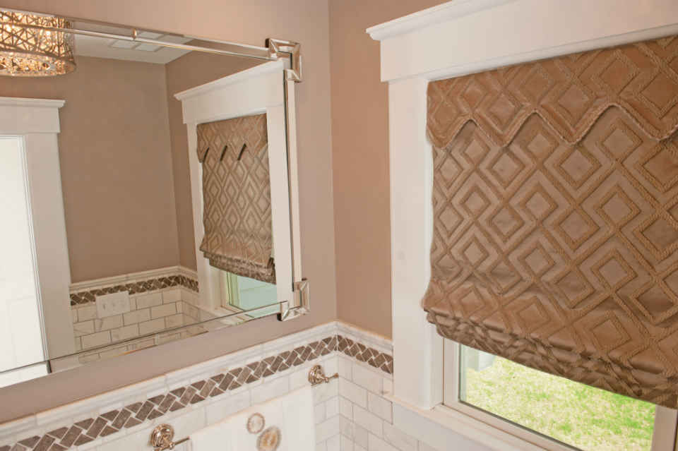 Powder Room Mirror And Tile Design